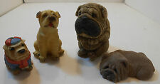 PUG DOGS....LOT OF 4 DIFFERENT FIGURINES FROM ESTATE SALE RESIN CHINESE FOO PUPS