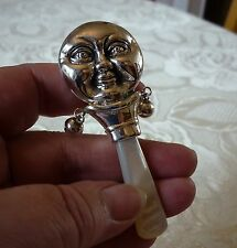 Solid sterling silver & mother of pearl HAPPY & SAD MOON BABY RATTLE