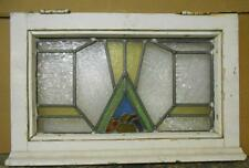 """OLD ENGLISH LEADED STAINED GLASS WINDOW Pretty Abstract Design 23.75"""" x 15.25"""""""