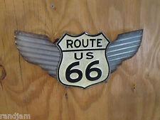 ROUTE US 66 WINGS COOL Vintage look Classic Embossed METAL Display mother roadAZ