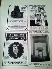 1908 Adverts Arts & Crafts Camera Fire Place Wall Paper Full Page Studio Mag