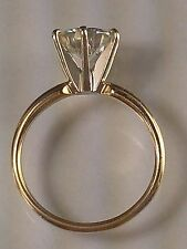 2 CT Moissanite Round Cut Solitaire 14K Yellow Gold Engagement Ring