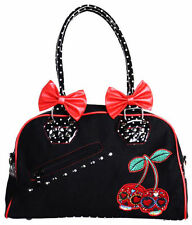 BANNED CHERRY SKULLS HANDBAG BOMB BAG LADIES BLACK RED POLKA DOT ROCKABILLY 50'S