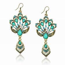 Blue Stunning Vintage Copper Teardrop Peacock Rhinestone Crystal Resin Earrings