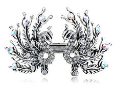 Antique Opulent Crystal Rhinestone Twin Peacock Bird Cuff Bracelet