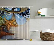 Tropical Seaside Shower Curtain Beach Starfish Flip-Flop Nautical Bath Decor