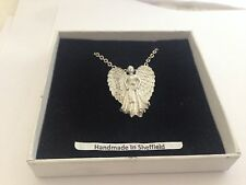 Guardian Angel GAPKR english pewter 3D Platinum Necklace Handmade 18 INCH