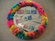 NEW BRIGHT COLORFUL RAINBOW TIE DYE FUZZY SOFT SWIRLS STEERING WHEEL COVER