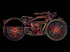 VINTAGE BIKE MOTORCYCLE COLOURFUL STYLIZED LINE BLACK ART PRINT POSTER BMP1872A