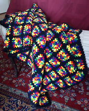 Black Rainbow Multi Color Granny Squares Crochet Afghan Throw Blanket 50x79