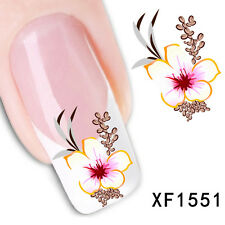 Water Transfer Flower Decal Stickers Nail Art Acrylic Tips Decoration