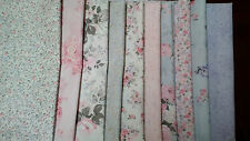 Cottage Shabby Chic Margeaux Pink Rose Floral Fabric set of 10 - 1/2 yard cuts