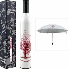 Decorative White and Pink Tree Wine Bottle Umbrella for Sun or Showers