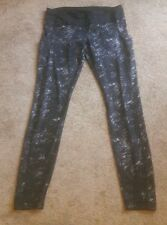WOMEN'S BEAUTIFUL LULULEMON LONG PRINTED BLACK RUNNING PANTS SIZE 12