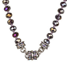 NEW KIRKS FOLLY TIMELESS CRYSTAL  BEAD MAGNETIC NECKLACE SILVERTONE/TANZANITE AB