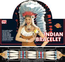 RED INDIAN Beaded Bracelet Cowboy Western Fancy Dress Accessory