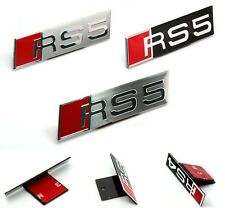1PCS RS5 SILVER WIREDRAWING CAR FRONT GRILL GRILLES STICKER EMBLEM A Type RS5