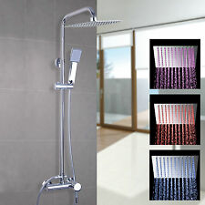 LED Stainless Steel Wall-mount Bath&Tub Rain-style Shower Faucet Mixer Tap Set