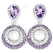 NATURAL 9X7 MM. AAA PURPLE AMETHYST & WHITE CZ STERLING 925 SILVER EARRING