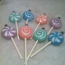 Pastel Sugar Coated Puffed Lollipop  Christmas Tree Ornaments Candy