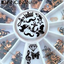 3D Manicure Metal Nail Art Decal Slice Black Stickers Foil Wheel Xmas Decoration