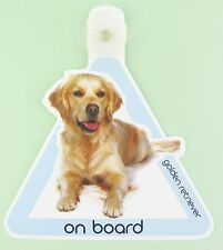 On Board Dog Car Sign Golden Retriever on Board Suction Cap provided