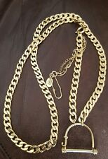 JUICY COUTURE HEAVY GOLDTONE CHAIN NECKLACE w/Bridle charm holder & SAFETY PIN