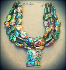 ABALONE PAUA NECKLACE PEARL SEA OPALS MOSAIC PENDANT BIG JEWELRY silver GEMS