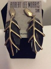 $45 ROBERT LEE MORRIS Soho Black Glass Stone Leaf Gold-Plated Drop Earrings RM 2