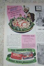 1947 old ad - Chicken of the Sea White Star tuna magician Apple Salad recipe AD