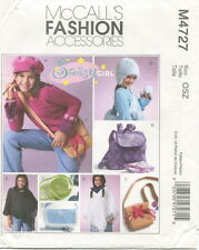 McCalls M4727 Girls Accessories Sewing Pattern ~  Purse Backpack Hats Poncho