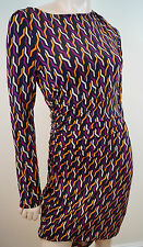 DIANE VON FURSTENBERG Purple Orange Cream Black Geometric Print Dress 8 UK12