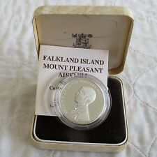 FALKLAND ISLANDS 1985 MOUNT PLEASANT AIRPORT SILVER PROOF CROWN - boxed/coa