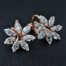 18K ROSE GOLD PLATED GENUINE CUBIC ZIRCONIA FLOWER CLIP-ON  EARRINGS
