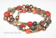 Silpada Coral Pearl Bead Sterling Silver Stretch Bracelet SET B1695 Retired