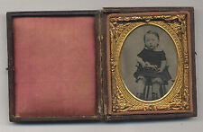 1858-60's AMBROTYPE PHOTO CHILD W/ AN AMERICAN PAINTED TIN TOY HORSE ON PLATFORM