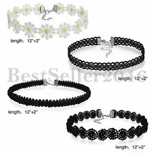 4pcs Womens Girls Black Classic Tattoo Velvet Lace Choker Collar Necklace Chain