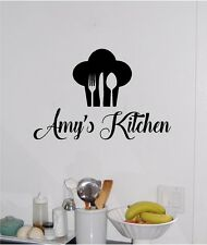 Personalized Name & Chef Hat Utensils Kitchen Wall Sticker Decor Vinyl Decal