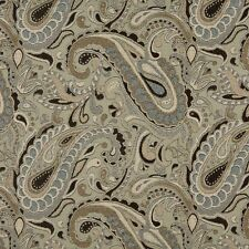 A0110A Brown Blue Tan Paisley Woven Indoor Outdoor Upholstery Fabric By The Yard