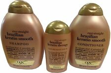 Trio OGX Organix BRAZILIAN Keratin Therapy SHAMPOO+CONDITIONER+SERUM E/Straight