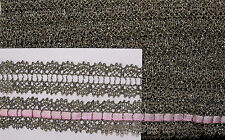 "ANTIQUE LOOK METALLIC SILVER 7/8""  LACE DOUBLE BORDER - BEADING FOR RIBBON"