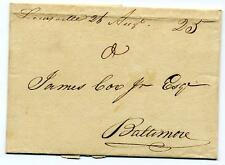 1816 Louisville KY Manuscript stampless folded letter to Baltimore
