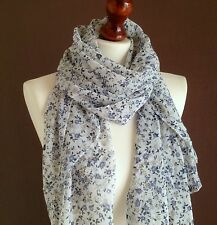 LARGE LADIES SOFT TINY FLOWERS PRINT FASHION SCARF WHITE*NEW *VISCOSE/COTTON