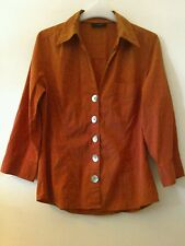Next Burnt orange blouse shirt size 12 roll up sleeves stretch fabric