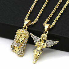 """Men 14k Gold Plated High Fashion 2 pcs Jesus & Angel 2mm 30"""" & 24"""" Rope chain 07"""