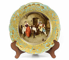 Sevres France Hand Painted Tavern Courting Scene Cabinet Plate, 19th Century