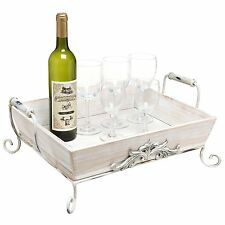 White-Washed Wood Decorative Double-Handled Display Serving Tray breakfast table