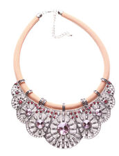 Damelza Pink Gem & Diamanté/chrome Statement Nude Chord Bib Necklace(Ns15)