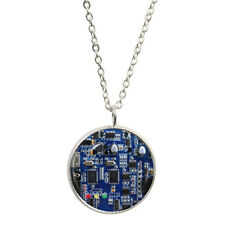Blue Circuit Board Pendant & Silver Plated Necklace PCB resistor capacitor BNIB