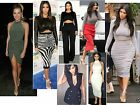 Womens ladies party bodycon two piece Polo Crop Top Midi Skirt dress lot d12